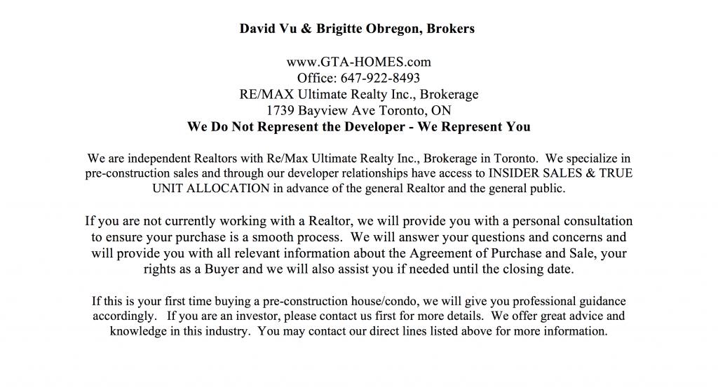 Condo Sales Agents Contact Info